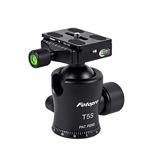 FotoPro Slim Waist Series T5S Aluminum-Magnesium Ball Head with Quick Release Plate, 55 lbs Capacity by Fotopro
