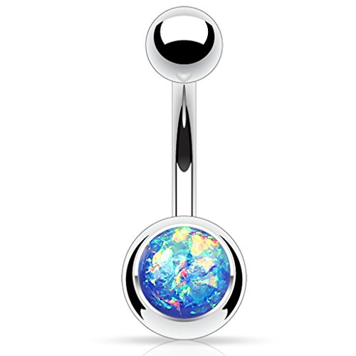 Fifth Cue 14G Opal Glitter Set 316L Surgical Steel Belly Button Ring (Synthetic Opal) (Blue)