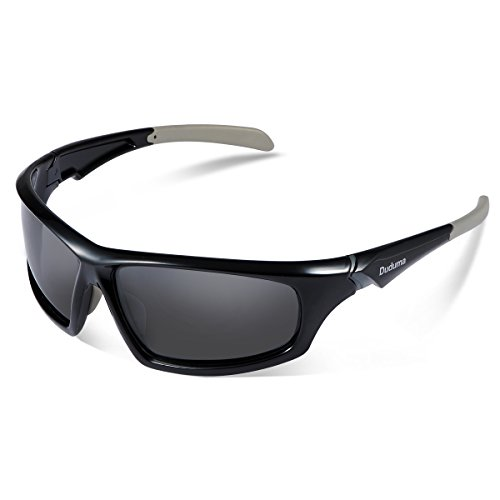 Duduma Tr601 Polarized Sports Sunglasses for Baseball Cycling Fishing Golf Superlight Frame (639 Black frame with black - Sunglass Warehouse Com