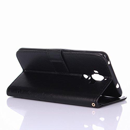 Yiizy Huawei Mate 9 Custodia Cover, Erba Fiore Design Sottile Flip Portafoglio PU Pelle Cuoio Copertura Shell Case Slot Schede Cavalletto Stile Libro Bumper Protettivo Borsa (Nero)
