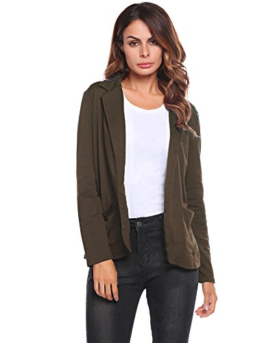 Zeagoo Womens Casual Work Office Blazer Open Front Long Sleeve Cardigan Jacket, Red, Large by Zeagoo
