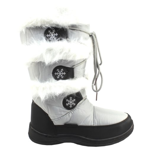 Womens New Tall Winter Snow Boots Waterproof Fur Lined Grey
