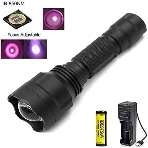 IR Taschenlampe 850nm, Nachtsichtgeräte für Infrarot Taschenlampen Zoomfähige, 38mm Objektiv, Zur Verwendung mit Jagd und Nachtsichtgeräten (Infrarotlicht ist für menschliche Augen nicht sichtbar)