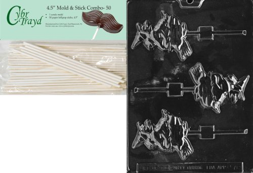 Cybrtrayd 45St50-H076 Witch on Broom Lolly Halloween Chocolate Candy Mold with 50 4.5-Inch Lollipop Sticks