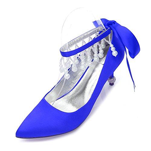 Close Für YC Schuhe Plattform Elfenbein Hochzeit Womens L Ferse Kätzchen Satin Schuhe Toe Braut Blau D17767 32 vUWYv1q4