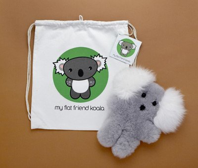 Flat Friends KOALLD Koala Lambskin Soft Plush Toy Drawstring (Lambskin Soft Plush Toy)