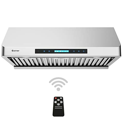 "COSTWAY Under-Cabinet Range Hood, 30-Inch 900 CFM, 4 Speed Touch Screen Panel, Stainless Steel Kitchen Vent Fan w/IR Remote Control, LED Lights and Wireless Stove Vent (30"")"