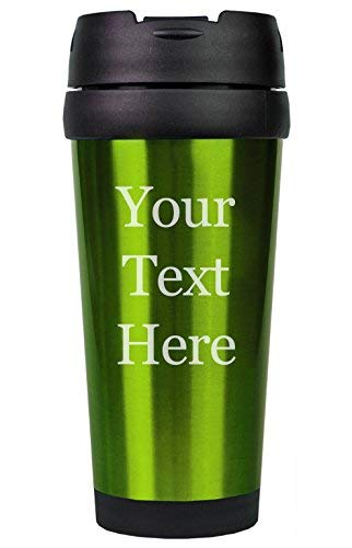 (Customized 3D Laser Engraved Personalized Stainless Steel Custom Travel Mug without Handle (Green))