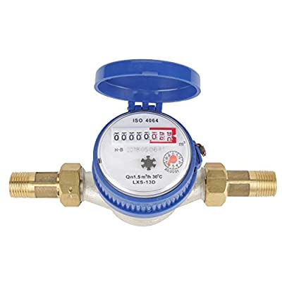 Meter of Water, 15mm 1/2 inch ABS Cold Water Meter with a Protective Cover Free Brass Fittings for Garden & Home Usage