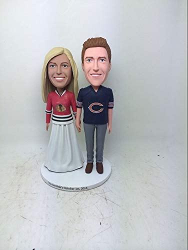 Blackhawks Custom Chicago Bears Personalized Bobble Head Girlfriend Boyfriend Gift Personalized Clay Figurine Baseball Wedding Cake - Blackhawk Head