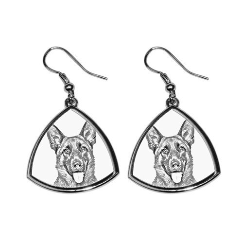 - German Shepherd, collection of earrings with images of purebred dogs, unique gift