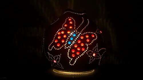 Small Gourd Lamp Shade Candle Holder Purple Dominant Butterfly Theme (50s Costume Kit)