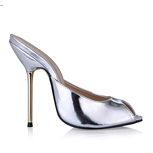 Female sandals banquet fish tip women shoes large silver high-heel shoes Silver Mirror