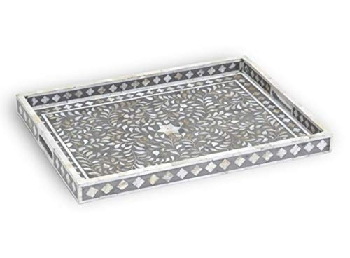 Handmade Grey Mother of Pearl Inlay Floral Design Rectangular Tray ()