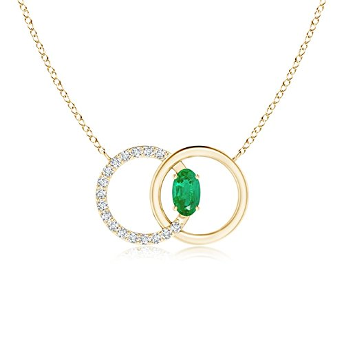 Emerald Interlocking Circle Necklace with Diamond Accents in 14K Yellow Gold (5x3mm Emerald)