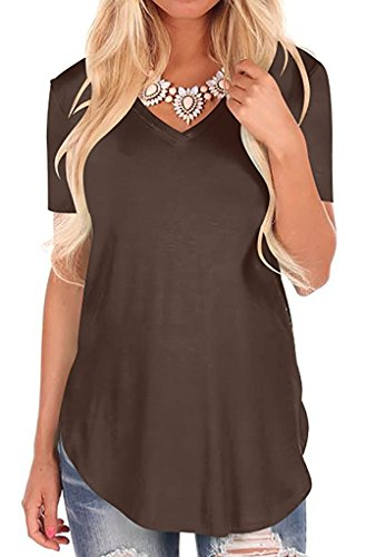 Fantastic Zone Women's Casual V Neck Loose Fit Short Sleeve T-Shirt Blouse Tops Brown XL