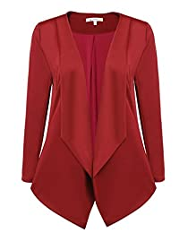 ACEVOG Womens Casual Work Office Open Front Asymmetrical Hem Cardigan Blazer Jacket