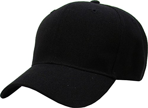 KBY-FITTED BLK (7 3/4) Premium Solid / Plain Fitted Cap Hat, Curved Bill / Brim (Black / 9 Sizes) (Baseball Plain Fitted Hat)