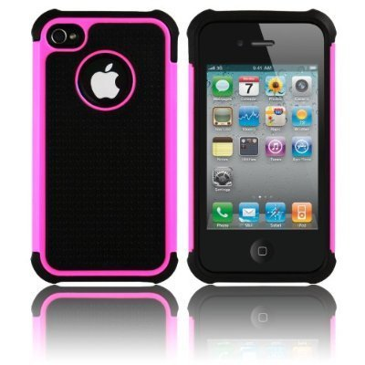 Triple-Defender-Layer-Impact-Hard-Case-Hot-Pink-with-Screen-Savers-for-Apple-iPhone-4-4S-and-4G-Att-Verizon-Sprint