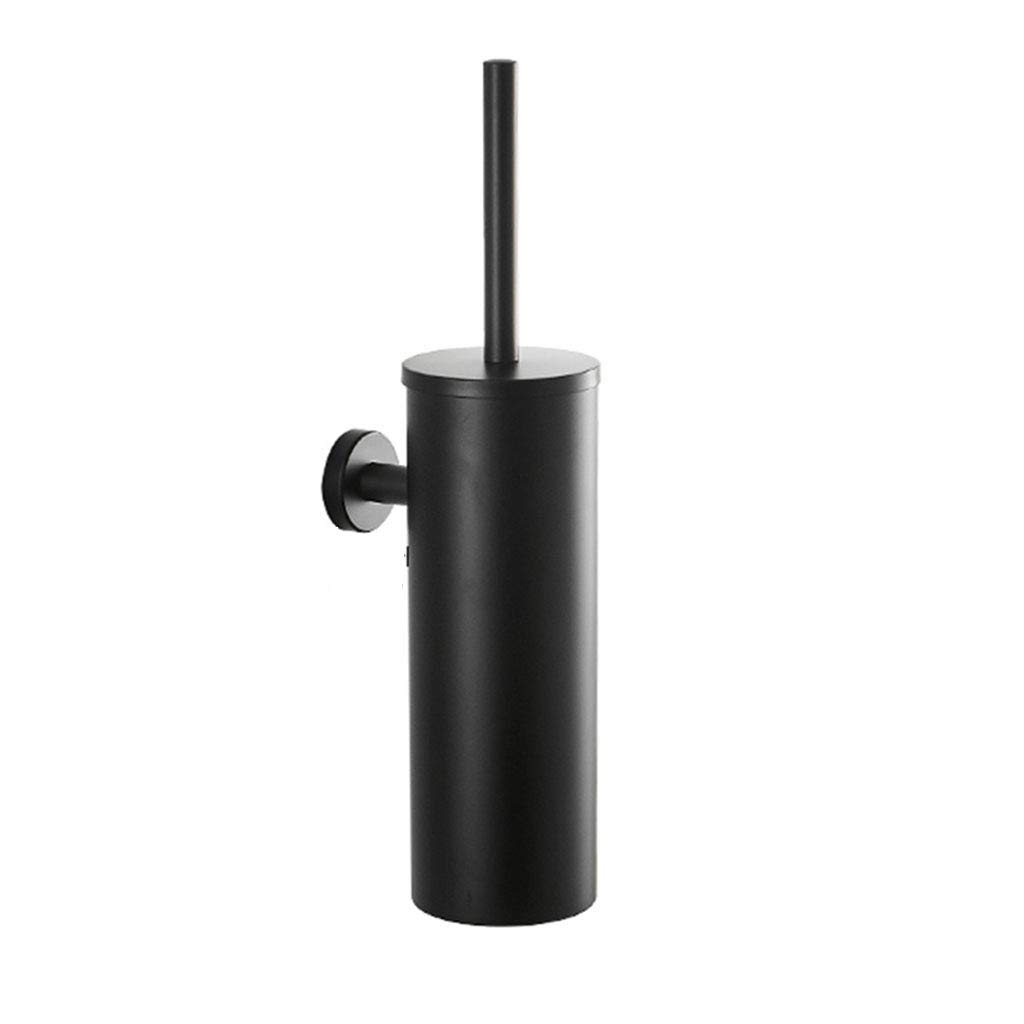 Toilet Brush, Bathroom Toilet Set Toilet Brush, Wall Mount, Black / 304 Stainless Steel/Simple/Perforated Installation.