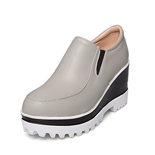 Amoonyfashion Donna Solido Tacchi Alti Pu Punta Chiusa Tira Su Pompe-scarpe Grigie