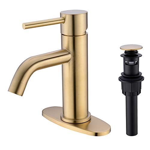 TRUSTMI Brass Single Lever Single Hole Bathroom Basin Sink Faucet with Pop up and 6-Inch Sink Faucet Hole Cover Deck Plate,Brushed Gold
