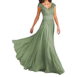 7b1d8d35fe Wedding Dresses for Mother of The Bride V-Neck Cap Sleeve Formal Evening  Gown for Women Sage Green
