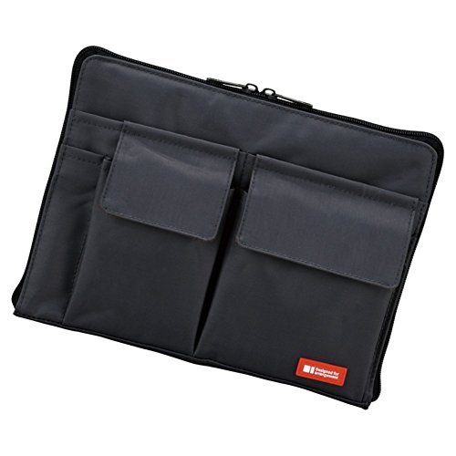 LIHIT LAB Bag Insert Organizer with Storage Pockets (Bag-in-Bag), Black, 7.1 x 9.8 Inches (A7553-24) ()