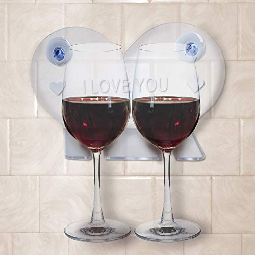 House Ur Home Bathtub Wine Glass Cup Holder Caddy Shower & Relax Bath with Powerful Strong Suction Cups Perfect Wedding Gift Heart Shape Design - One Year Warranty by House Ur Home