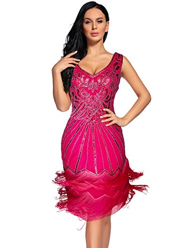 Price comparison product image Women's 1920s Flapper Dress Sequin Embellished Gatsby Tassels Cocktail Dress (Rose, XL)
