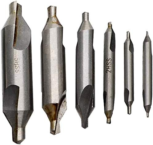 6pcs HSS Center Drill Bits 60 Degree Countersink Tools 1//1.5//2//3//4//5mm Set High Hardness