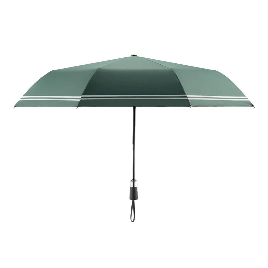 XAODAN 自動傘 ダブル折りたたみ メンズ クリエイティブストライプ 女性 ビニール アンチストーム傘 超軽量傘 日焼け防止 UV保護 グリーン 4X19337 B07PK36LB6 グリーン