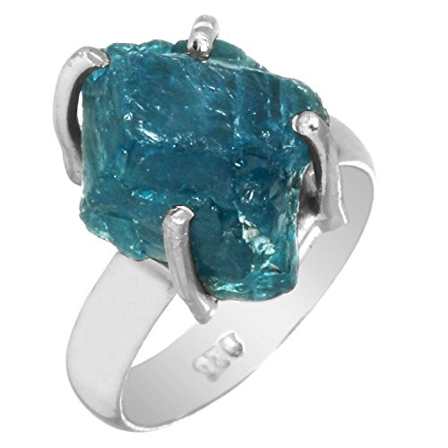 Genuine Neon Blue Apatite Rough Gemstone Ring Solid 925 Sterling Silver Modern Jewelry Size 5