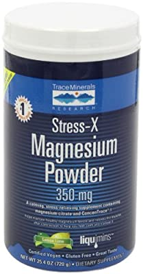 Trace Minerals Research, Stress-X Magnesium Powder, Lemon Lime 350mg, 17.6-Ounce