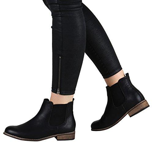 Stiefelparadies Damen Stiefeletten Chelsea Boots mit Blockabsatz Profilsohle Flandell Schwarz Braun Agueda