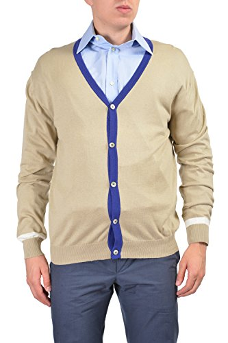 Etro Men's Beige Long Sleeve Button Down Cardigan Sweater Size US 2XL IT 56