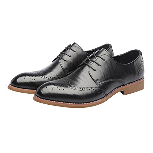 Dimensione Oxford 41 pelle Hollow uomo Scarpe shoes vera Up Scarpe brogue Wingtip traspirante EU in Color Low Nero Top 2018 Carving Pelle Nero foderato Lace Uomo Business da Jiuyue 4HwxYx
