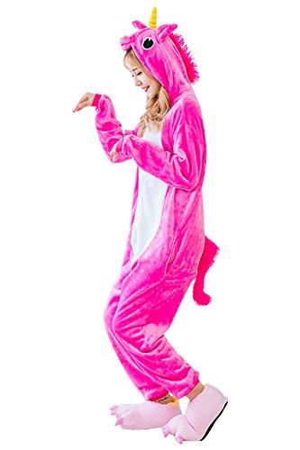 Unicorn Onesie Pajamas Costume Animal Kigurumi Cosplay Cute Sleepwear Rose (Pregnant Family Halloween Costumes)
