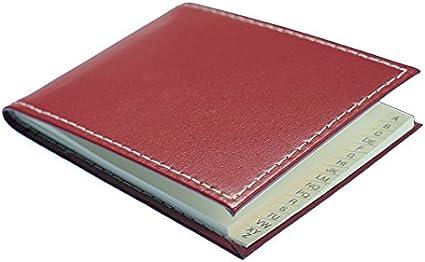 11/x 7,5/cm Rosso feinnarbiges Pelle A7/orizzontale Hand Made in Germany con cuciture a contrasto Luminoso PA Cambridge Rubrica e rubrica