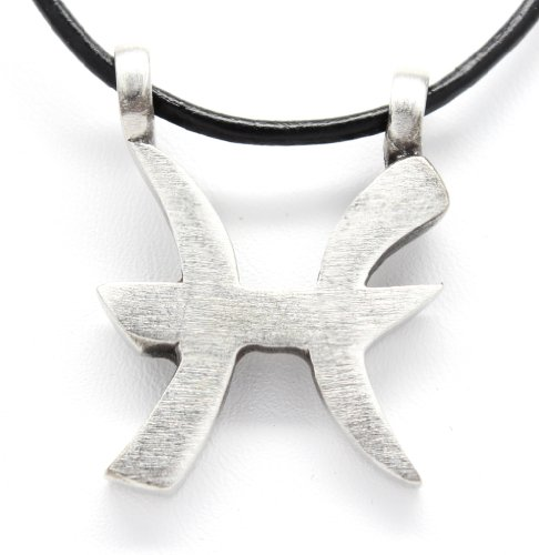 - Pewter Pisces The Fish Zodiac (February 20 - March 20) Astrology Pendant on Leather Necklace