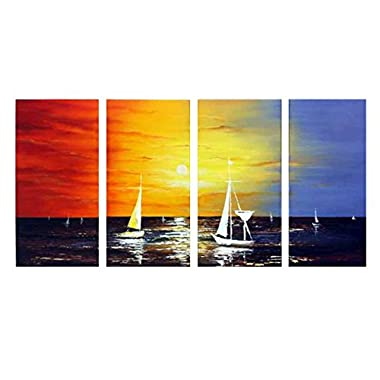 Wieco Art - Sailing Modern 4 Panels 100% Hand Painted Stretched and Framed Seascape Oil Paintings on Canvas Wall Art Ready to Hang for Living Room Bedroom Home Office Decorations
