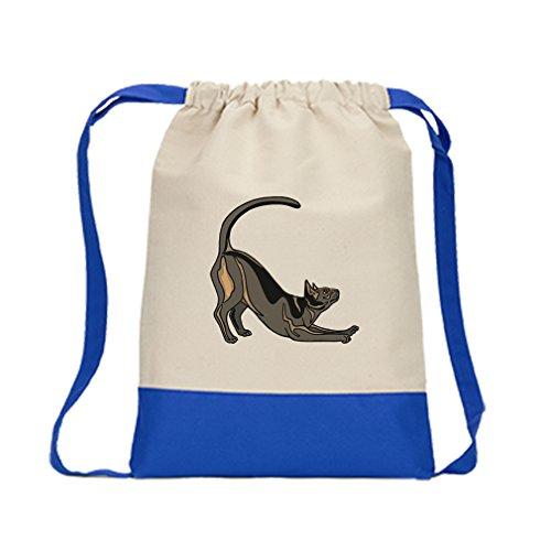 Canvas Backpack Color Drawstring Havans Brown Cat #2 By Style In Print | Royal - Colour Havan