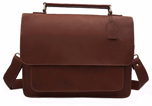 Leather Messenger Bag Unisex Briefcase Crossbody Satchel With Shoulder Strap For Laptops, Books - Everyday Use For Students, Office, Work (Brown) by Sun Lifestyle