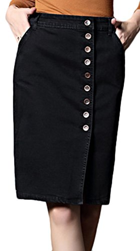 - Youhan Women's Elastic Split High Waist Package Hip Midi Denim Skirt (XX-Large, Black)