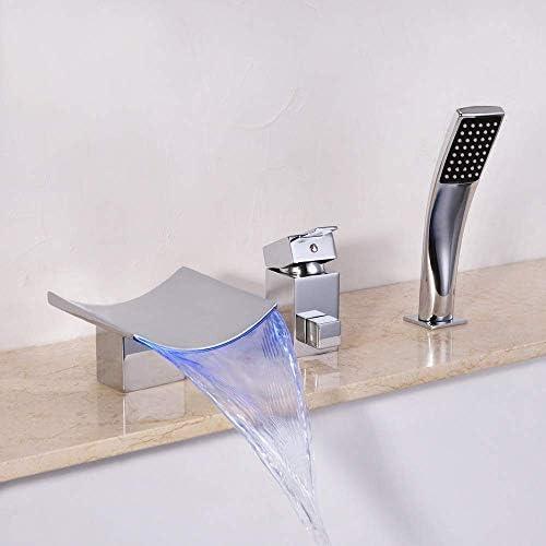 ZT-TTHG 実用的な現代のインテリジェント・色変更主導ホット&コールドシャワー蛇口全銅3ホールの滝バスルーム2機能プルハンドシャワーヘッドビューティフル