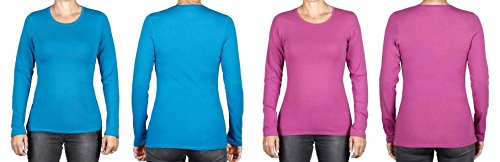 Felina Women's Long-sleeve Crew Neck Modal Layering Tee (2-pack) (Large, Teal/Lilac)