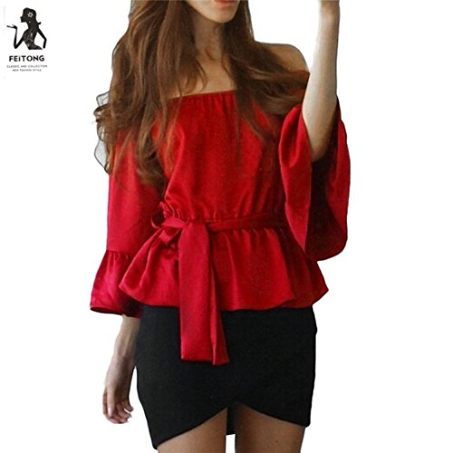 Sleeves Sash Cotton (Hemlock Women Off Shoulder Tops T-Shirt Sash Blouse (XL, Red))