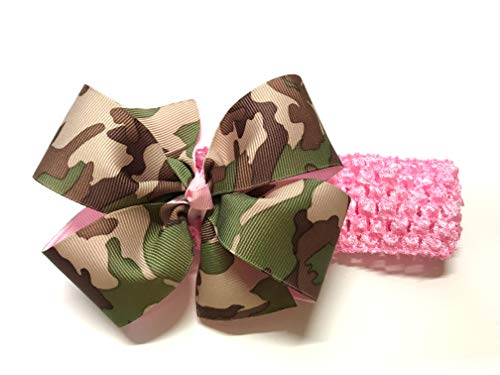 - Baby Girls Pink Black Brown Green Camouflage Print Hair Bow on Crochet Headband Camo Hair Bow Toddler Girl Hair Accessories