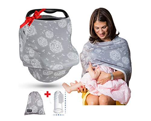 Premium Soft Grey Multi-Use Cover for Nursing, Carseat Canopy, Baby Car Seat, Breastfeeding Scarf, Shopping Cart, for Boys and Girls - 4 in 1 Nursing Cover - Best Baby Shower Gift Set - Gray Dandelion