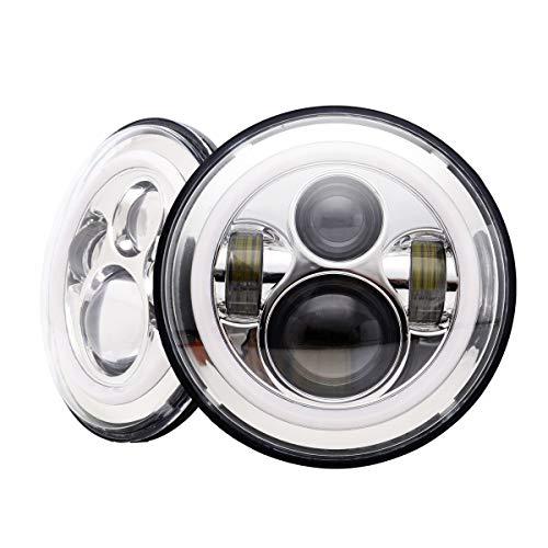 Turbosii chrome 7 in round led headlights sealed beam bulb functional halo ring angel eyes drl lamp and amber turning signal lights for 97-2017 jeep wrangler jk jku lj cj tj hummer h1 h2